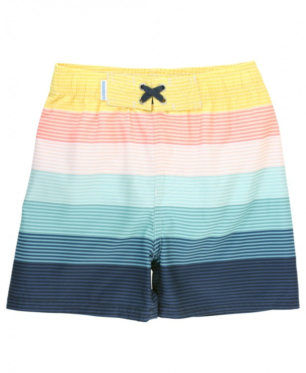 Navy SS Rash Guard & Stripe Trunks Set
