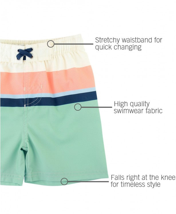 Sage Color Block Swim Trunks