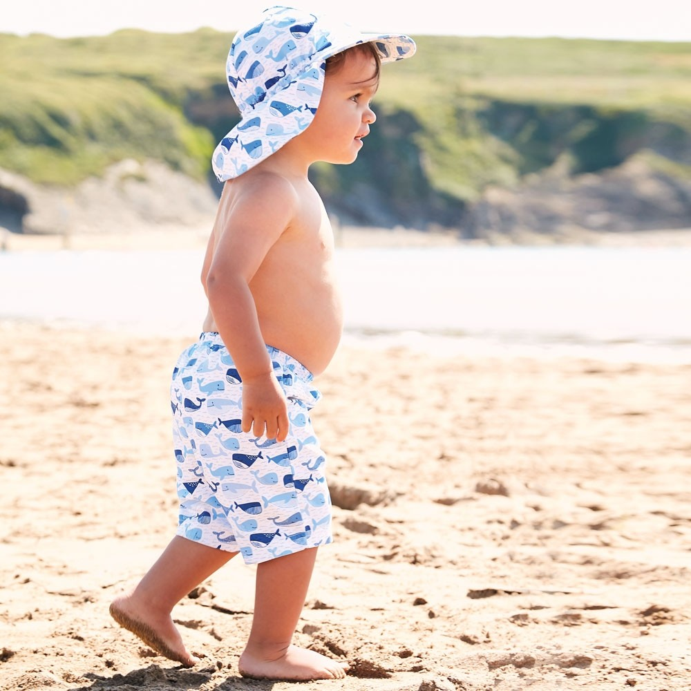 Blue Whale Swim Shorts with Diaper