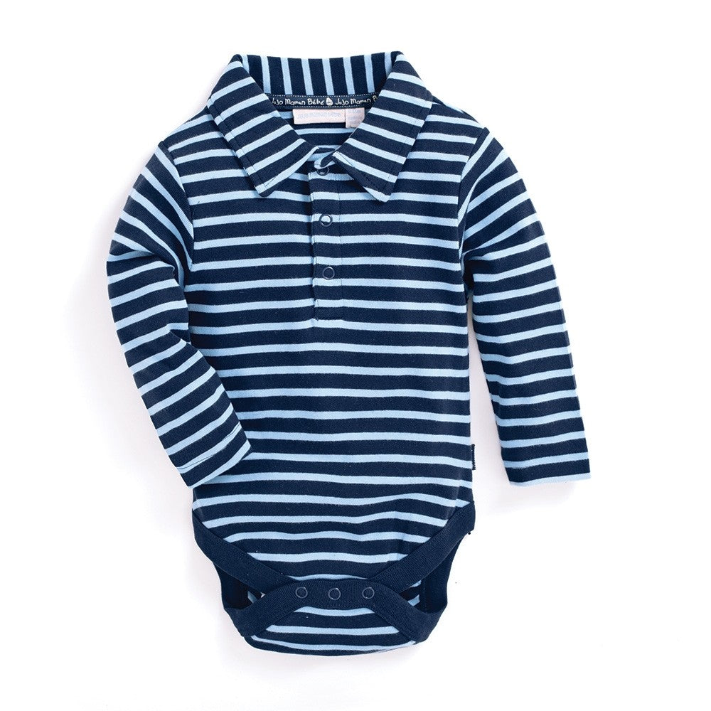 Navy Breton Polo-Shirt Bodysuit