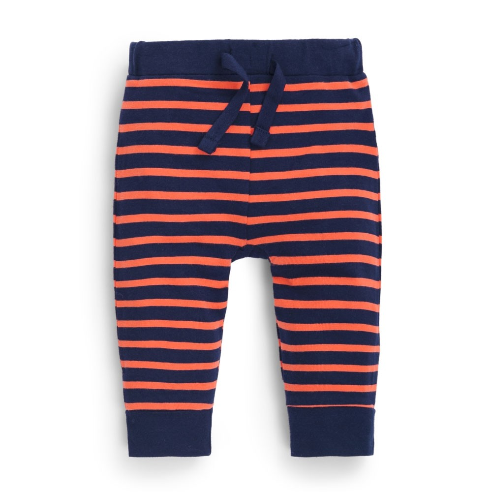 Fox Navy/Orange Striped Baby Leggings