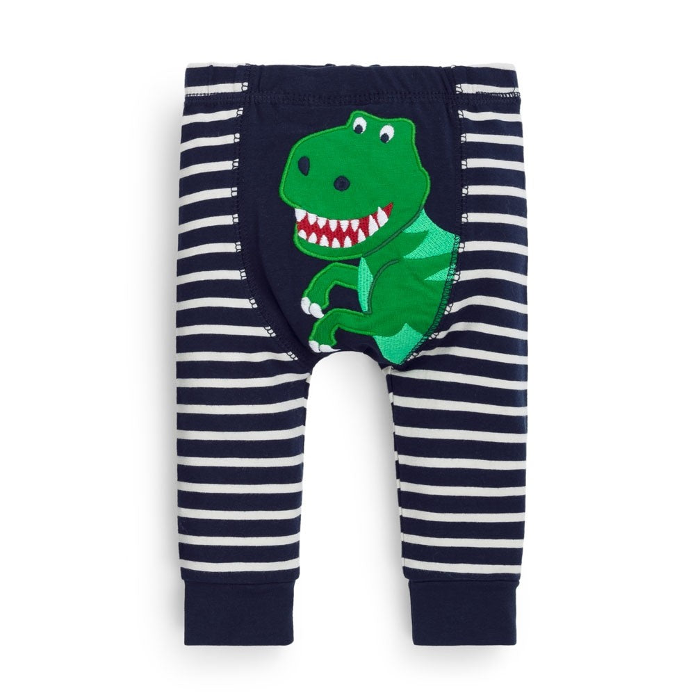 Dino Navy Striped Baby Leggings