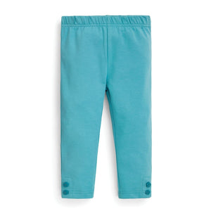 Turquoise Leggings with Flower Ankle Buttons