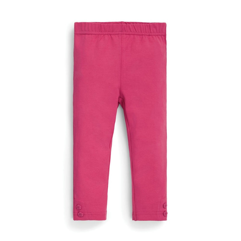 Pink Leggings with Flower Ankle Buttons