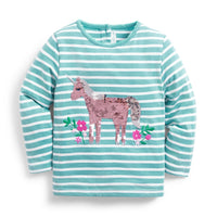 Sequin Unicorn Top in Duck Egg Blue