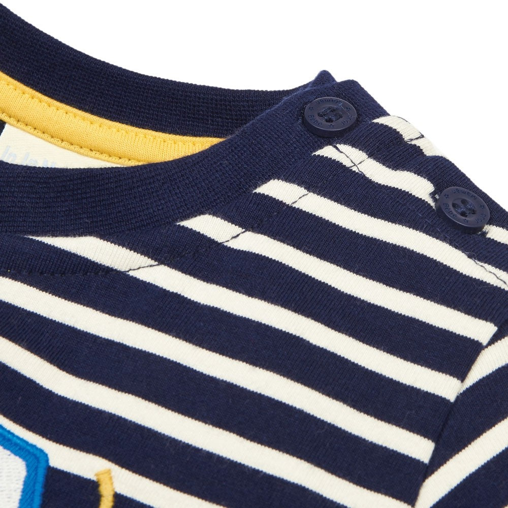 Tractor Applique Striped LS Tee