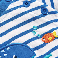 Striped Whale Baby Romper