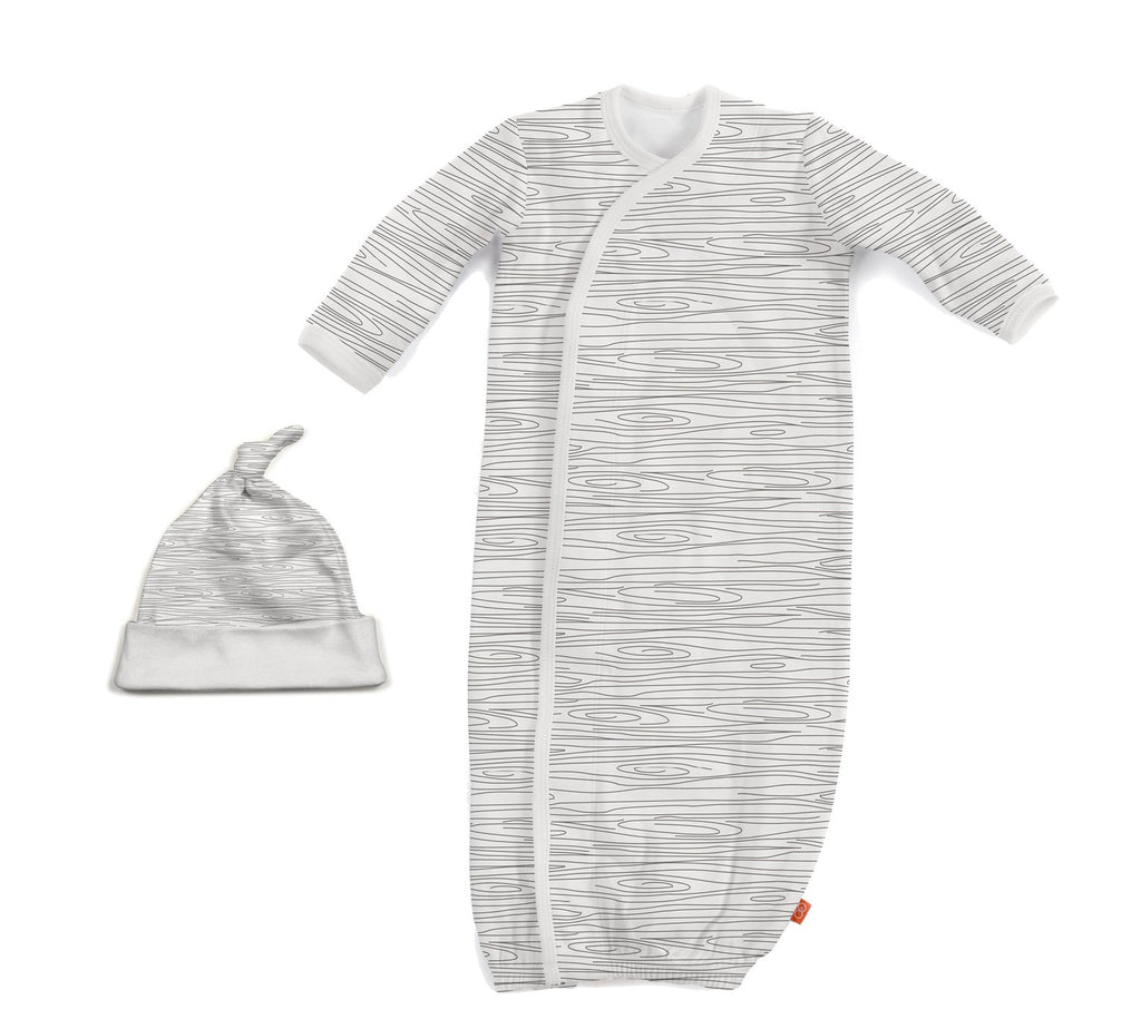 Birch Print Organic Cotton Magnetic Gown & Hat Set (NB-3m)