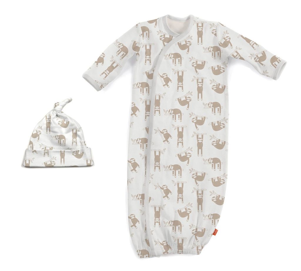 Silly Sloth Magnetic Gown & Hat Set (NB-3m)