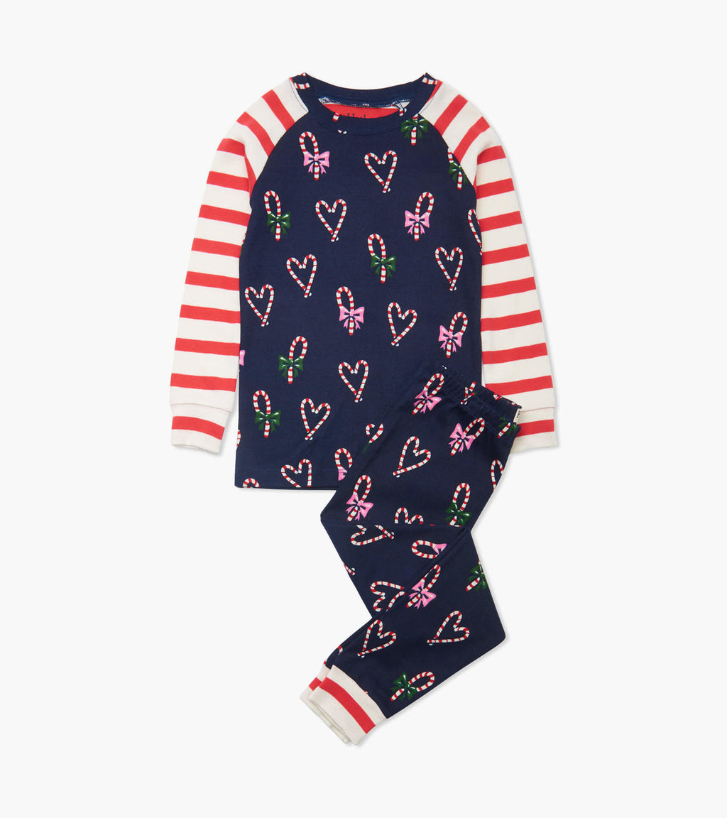 Candy Cane Hearts Organic Cotton Raglan Pajama Set
