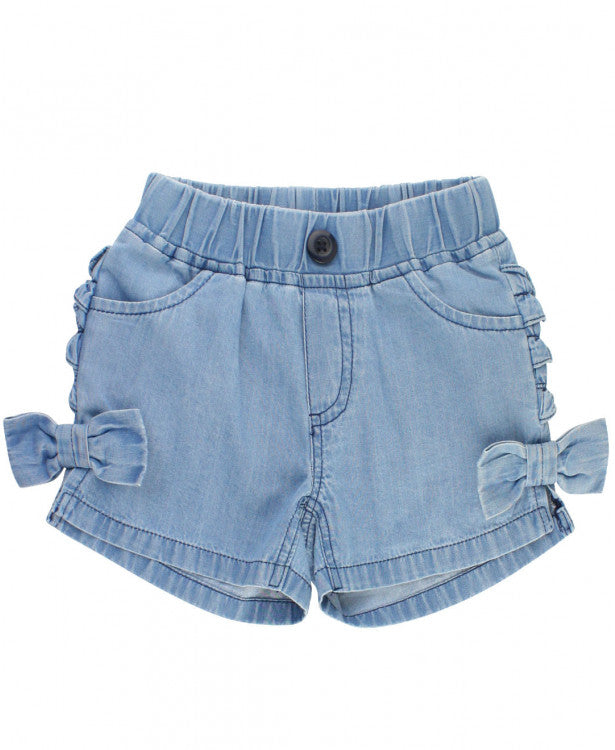 Light Wash Denim Bow Shorts