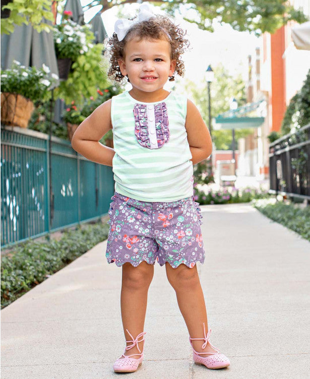 Joyful Meadows Stripe Tank & Scallop Shorts