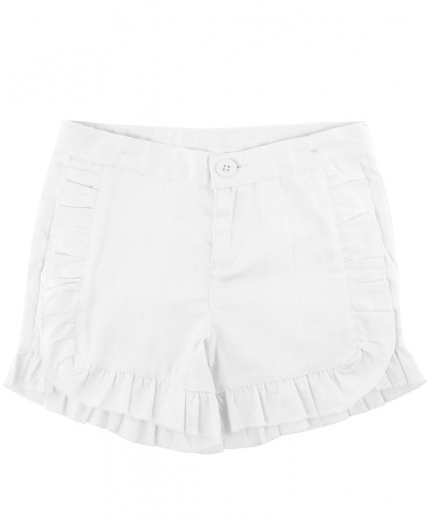 White Ruffle Chino Shorts