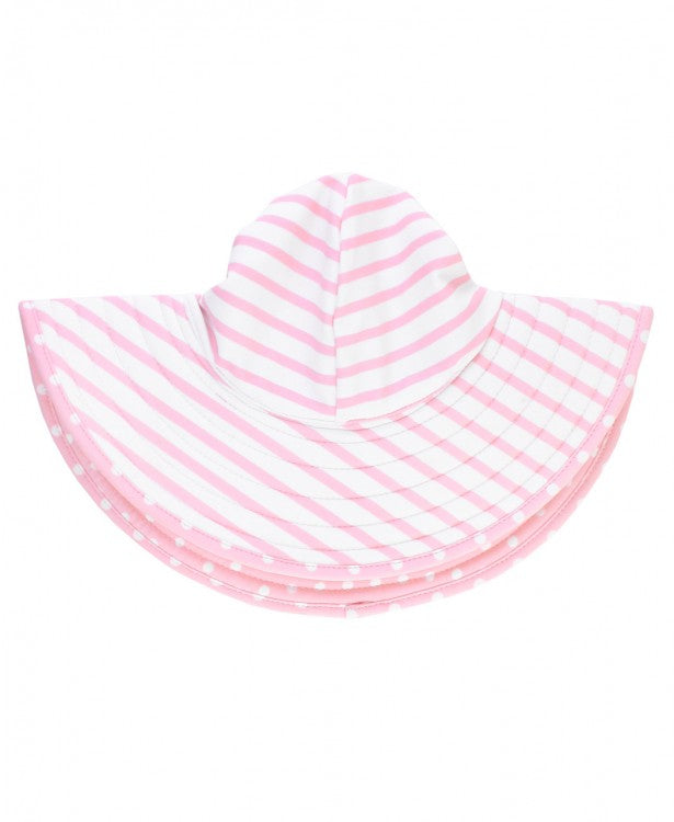 Pink Polka and Stripe Reversible Swim Hat