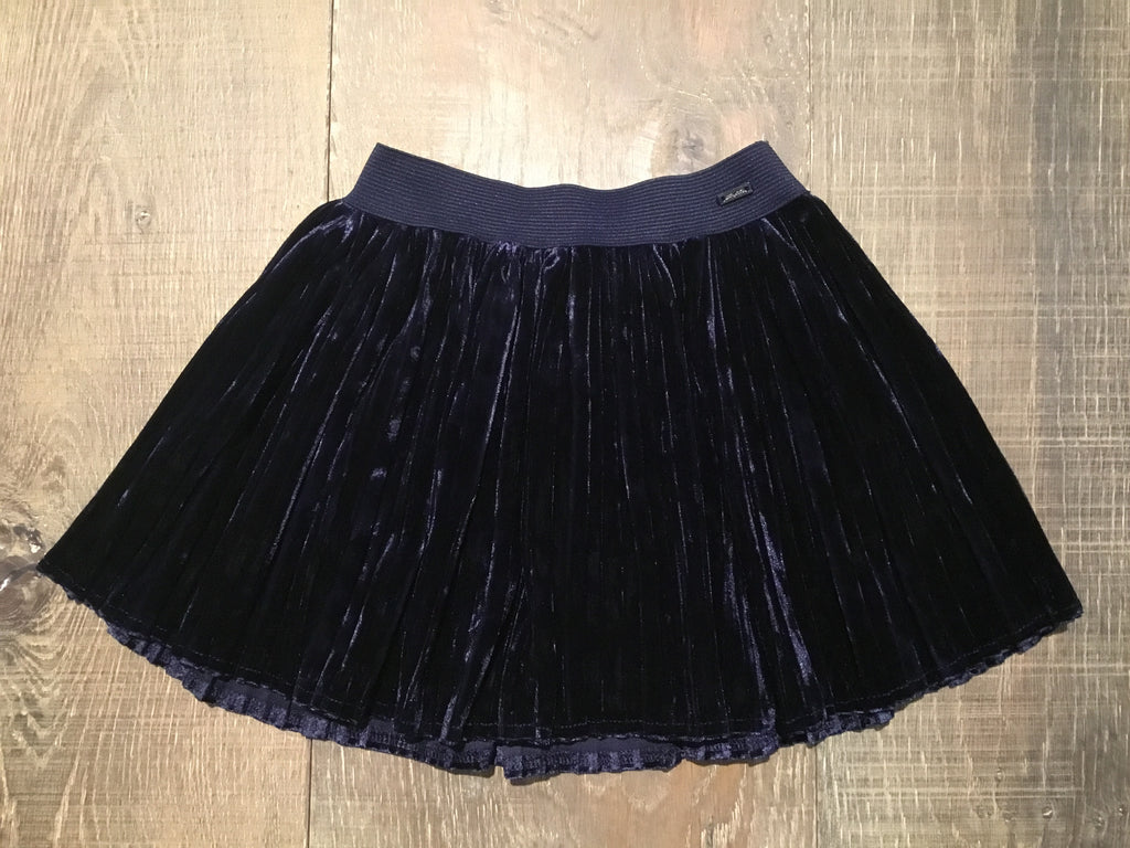 Pleated Velveteen Navy Skirt