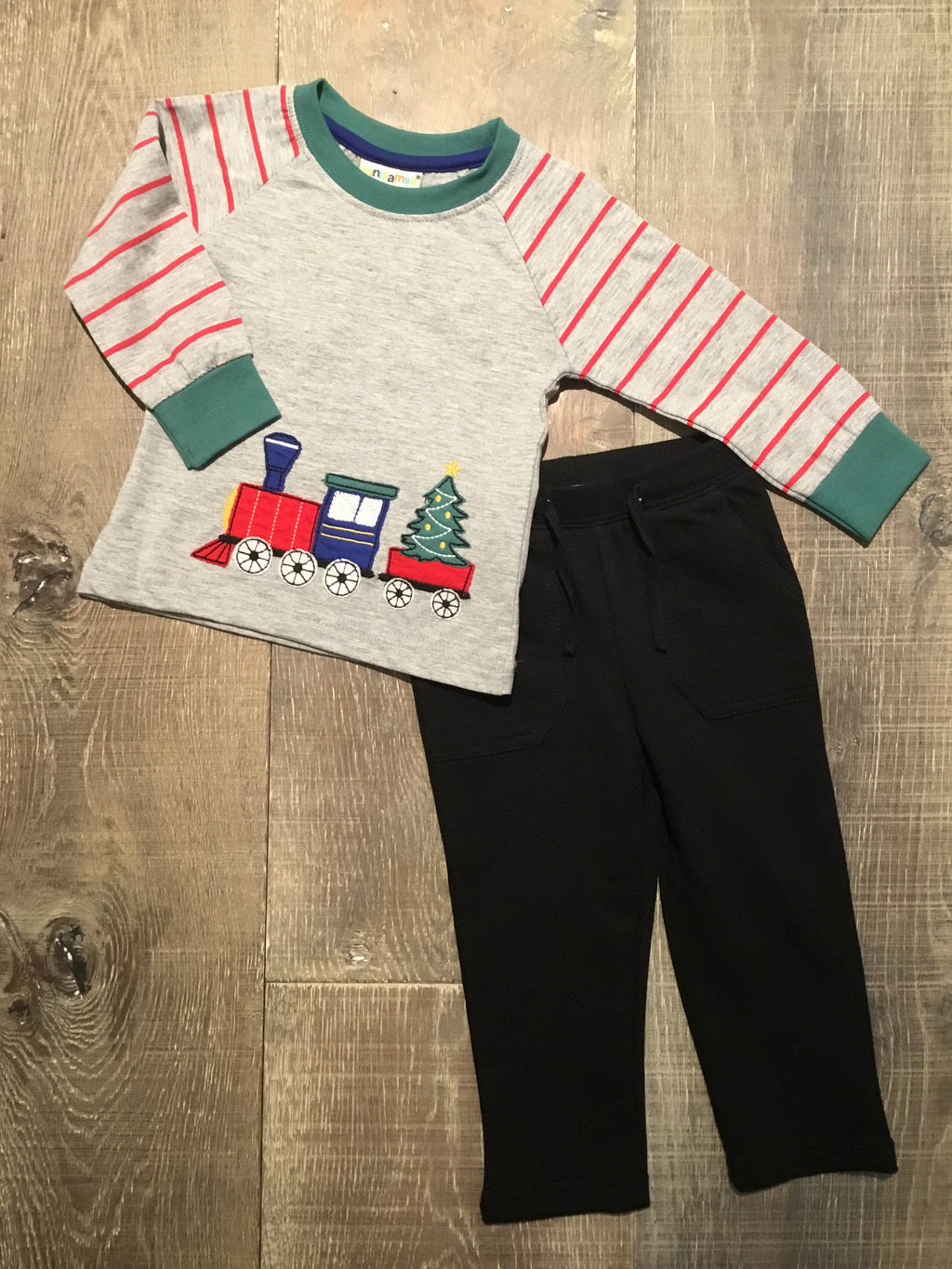 Christmas Train LS Tee & Black Sweat Pants