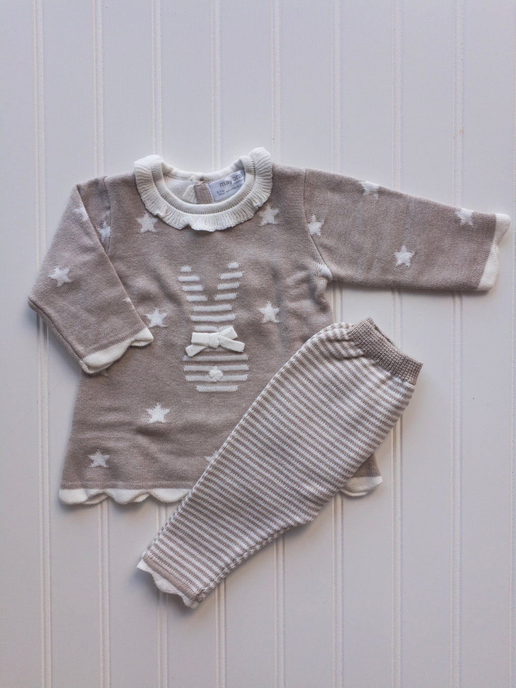 Beige and Cream Bunny Knit Dress & Leggings Set