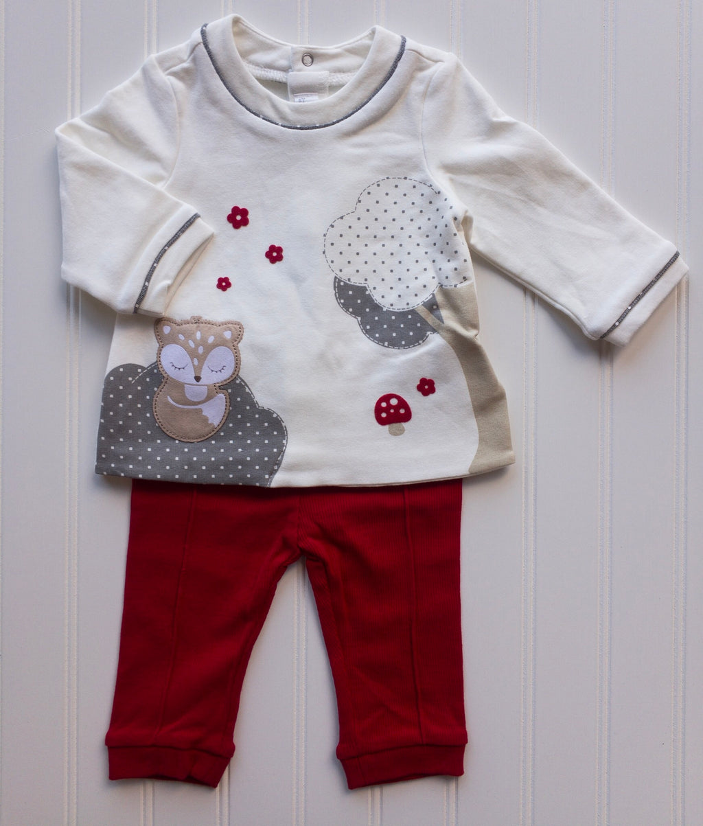 Woodland Fox Top and Red Leggings