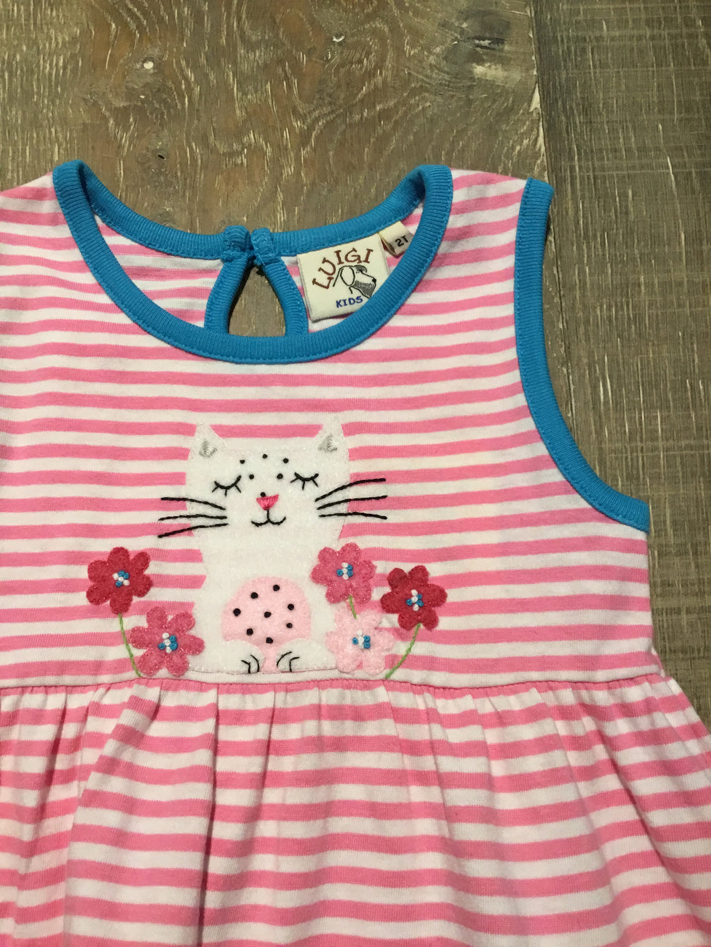 Luigi Kitty & Flowers Stripe Tank Dress