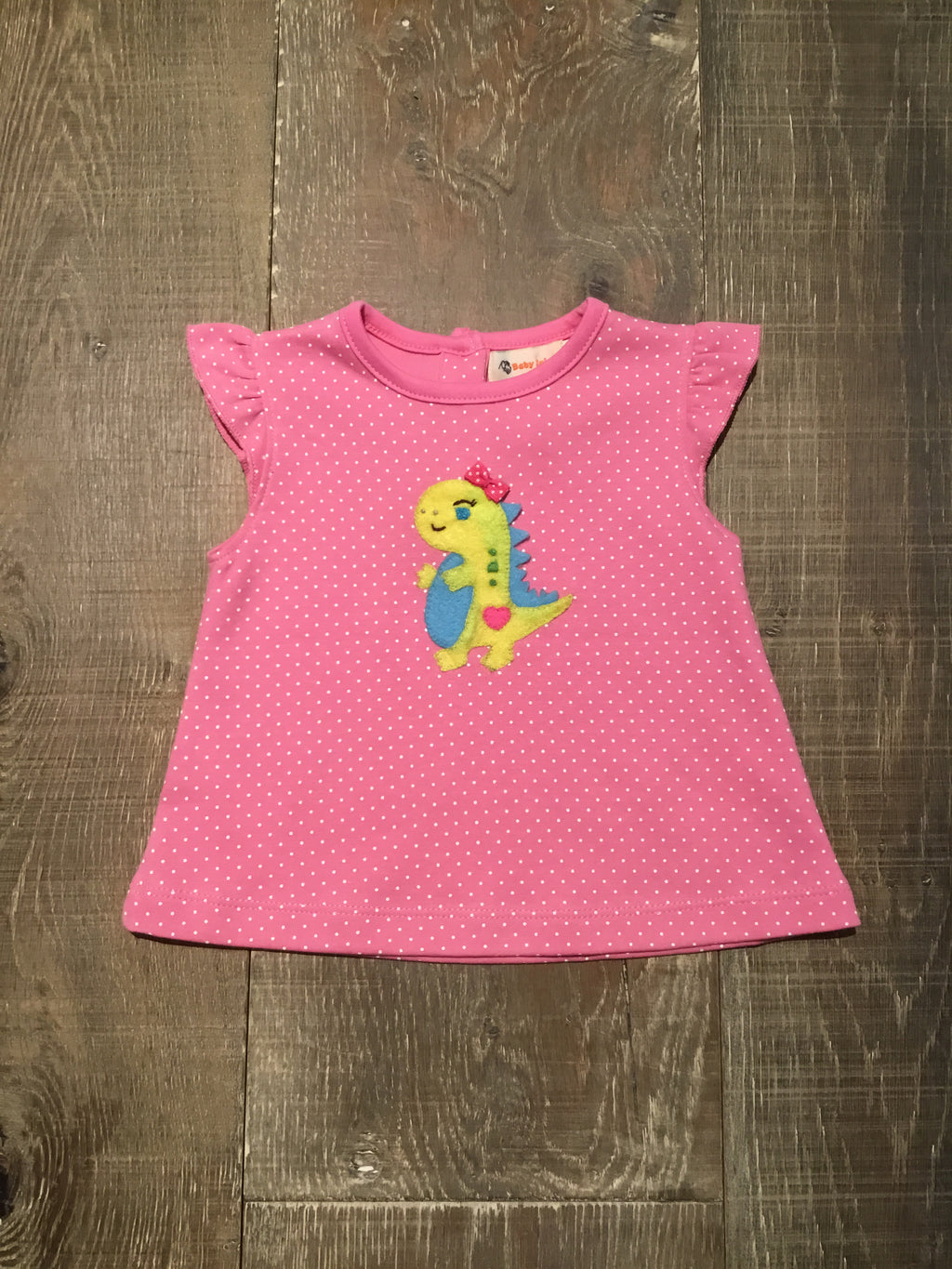 Dotted Pink Dino Swing Top