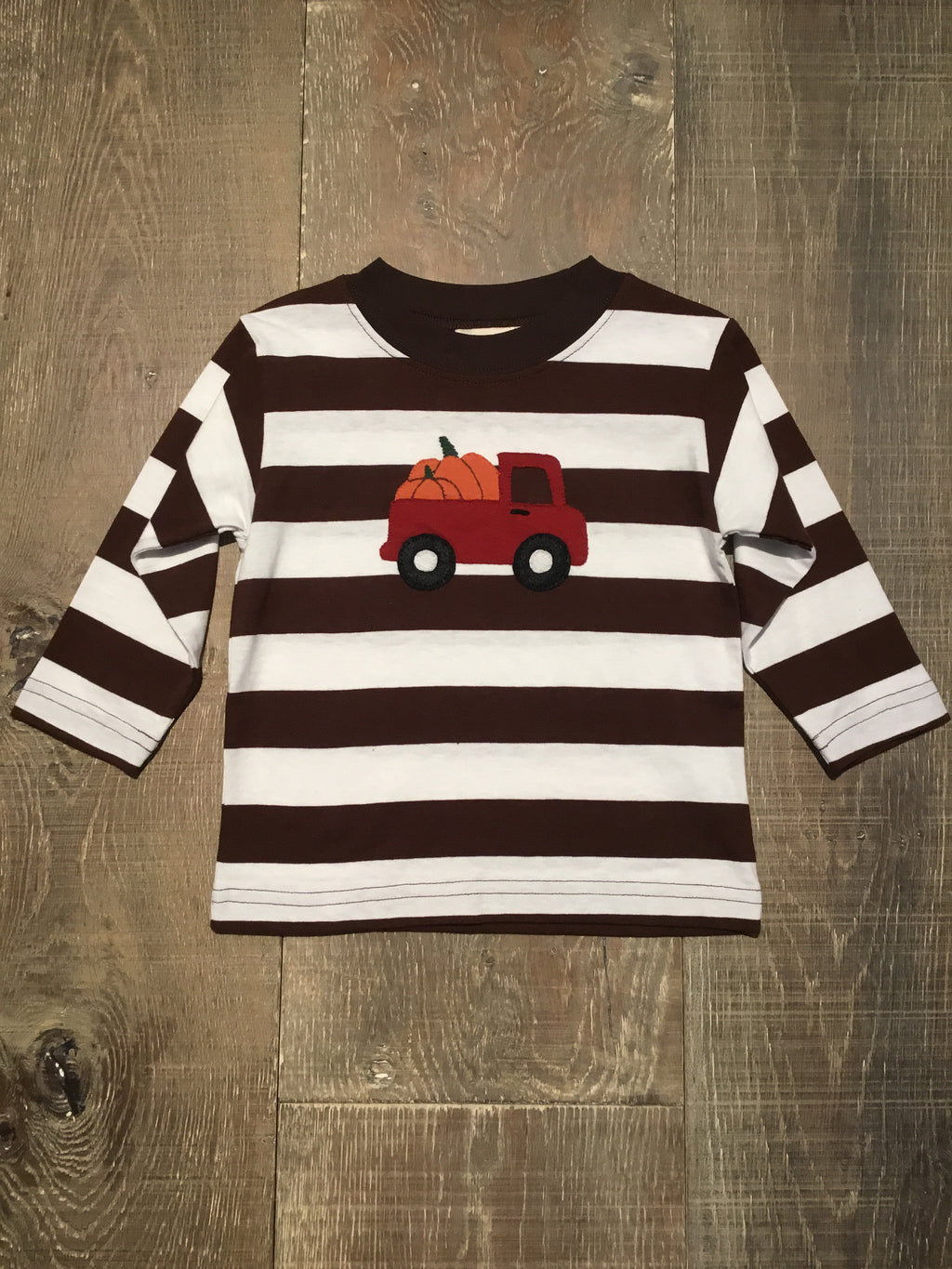Truck with Pumpkins Striped Long Sleeve Shirt