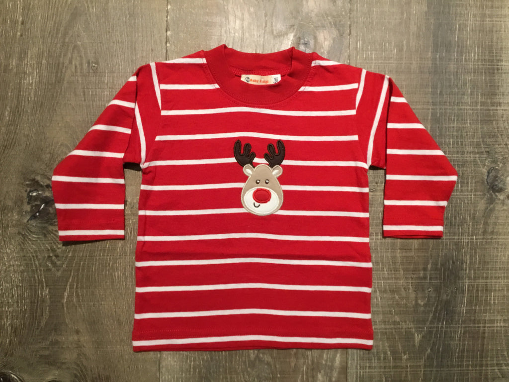 Rudolph on Red/White Striped L.S. Tee