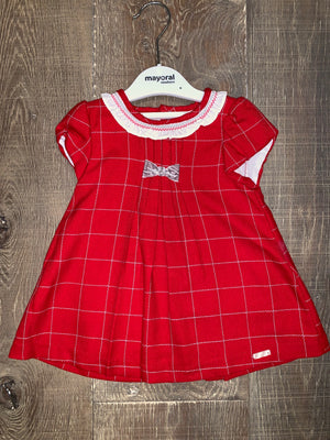 Cherry Red Plaid Short Sleeve Dress