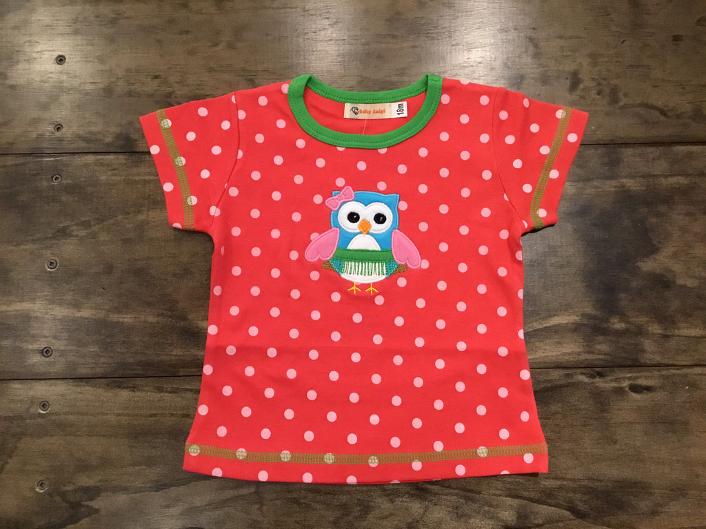 Dotted Hula Owl Cap Sleeve Shirt by Luigi Kids