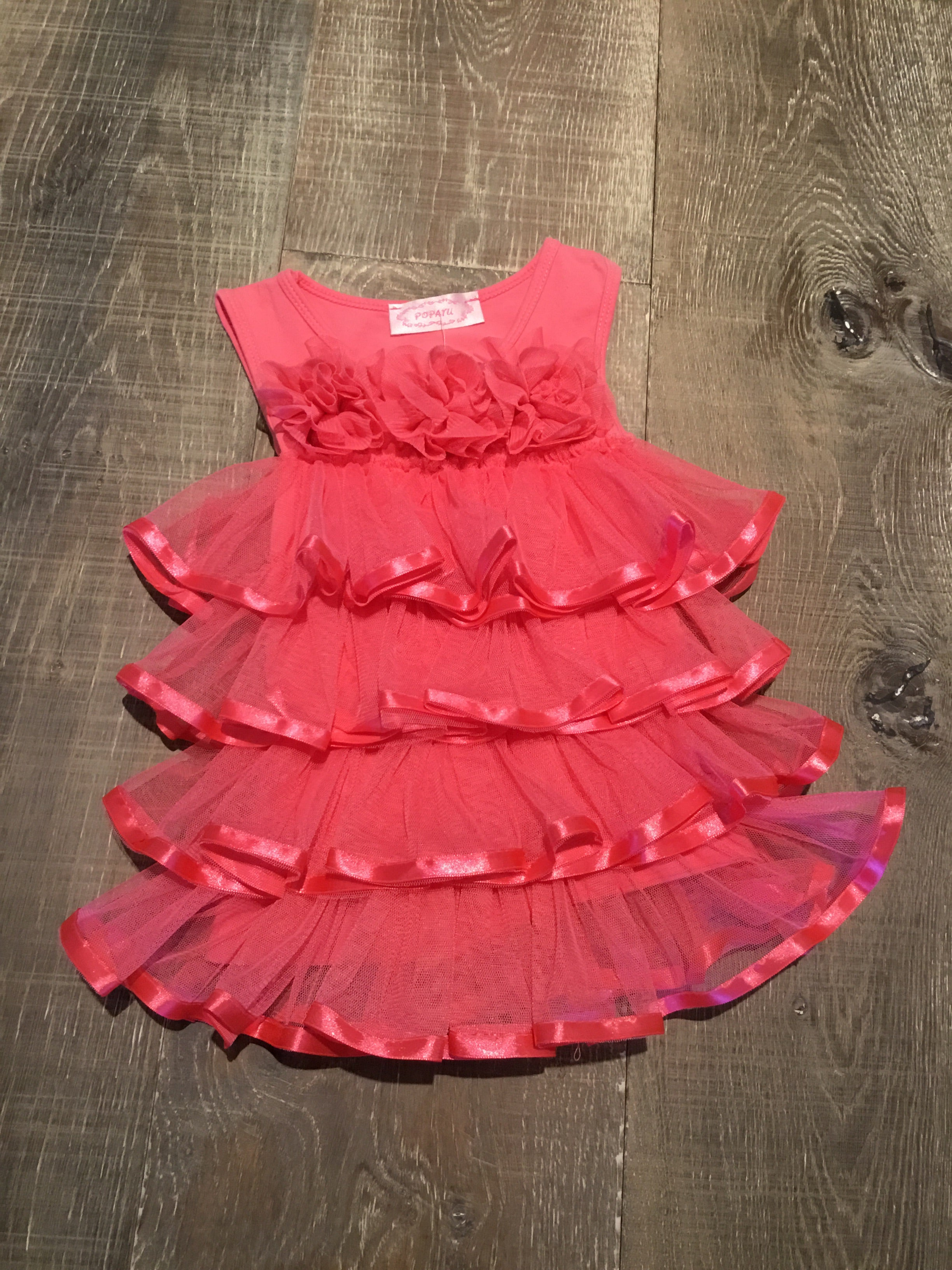 Coral/Pink Ruffled Tulle Ribbon Dress