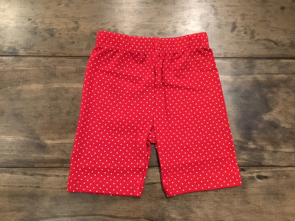 Red & White Dotted Bicycle Shorts by Luigi Kids