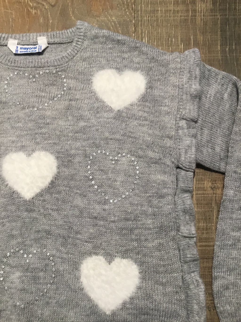 Sparkle & Ruffle Heart Sweater
