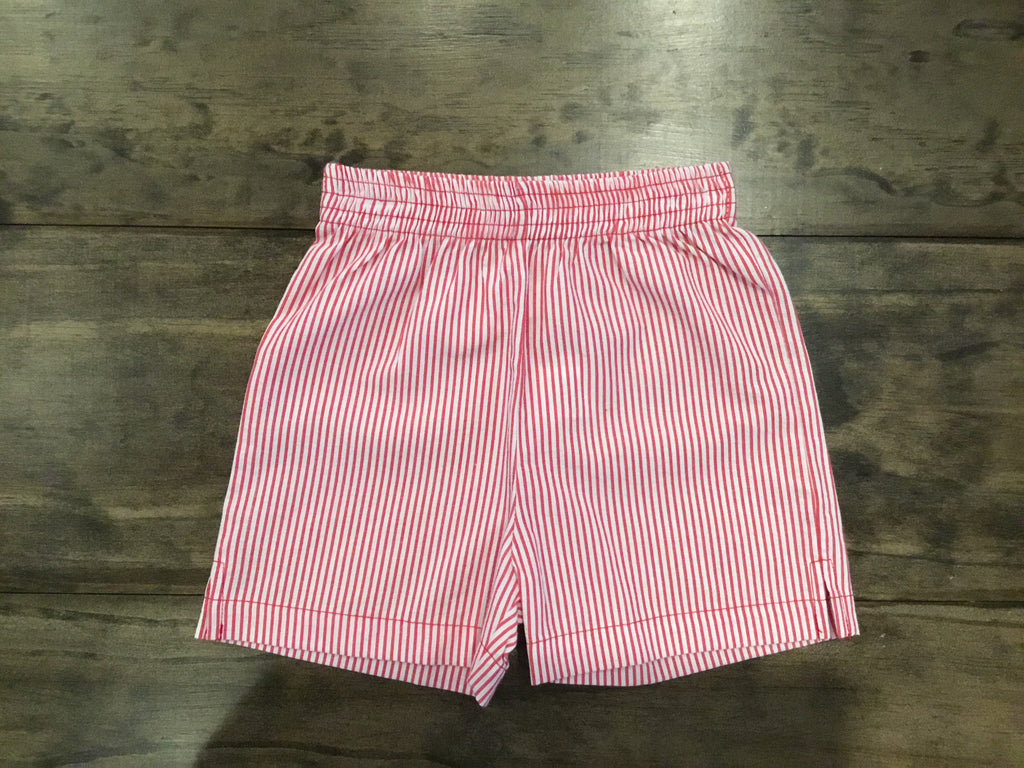 Red and White Seersucker Shorts by Luigi Kids