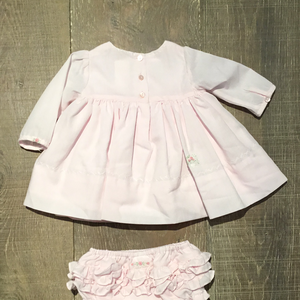 Pink L.S. Smocked Flower Dress & Bloomers