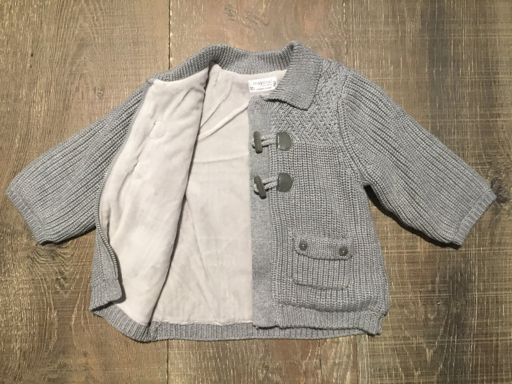 Grey Knit Toggle Button Cardigan
