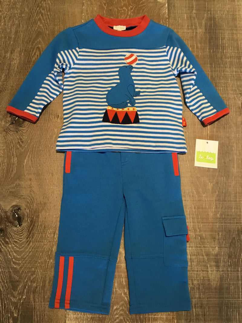 Blue Striped Seal Long Sleeve Shirt and Pants
