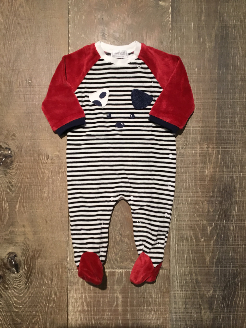 Red B&W Striped Pup Face Pjs