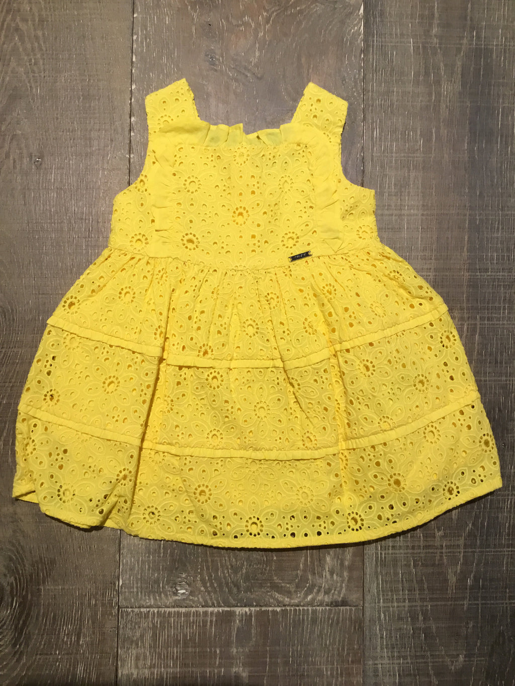 Yellow Eyelet Floral Dress