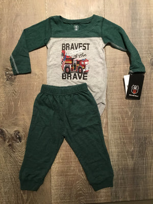 """Bravest"" L.S. Onesie and Pants Set"