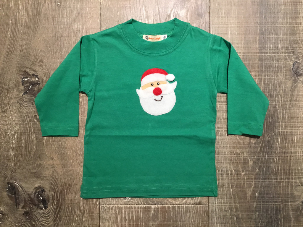 Santa Face on Green L.S. Tee