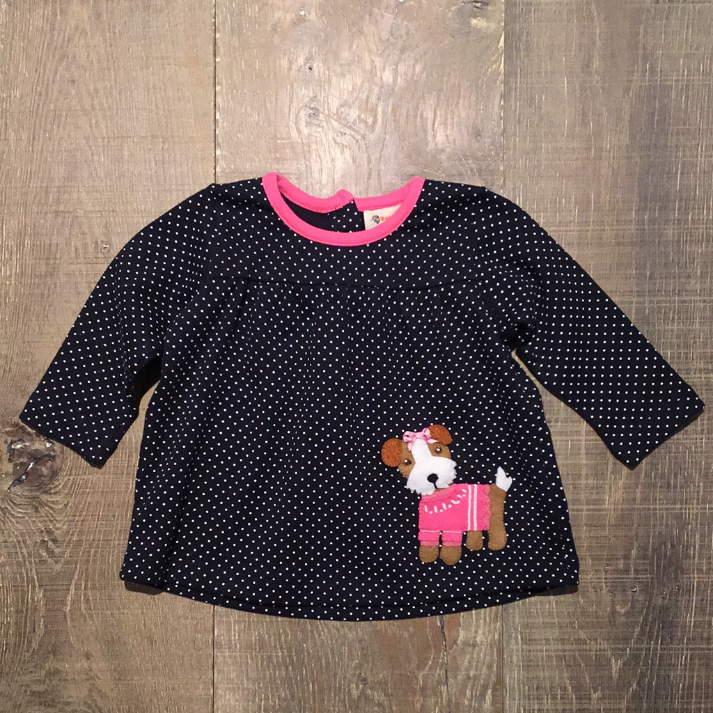 Sweater Yorkie on Dotted Navy L.S. Top