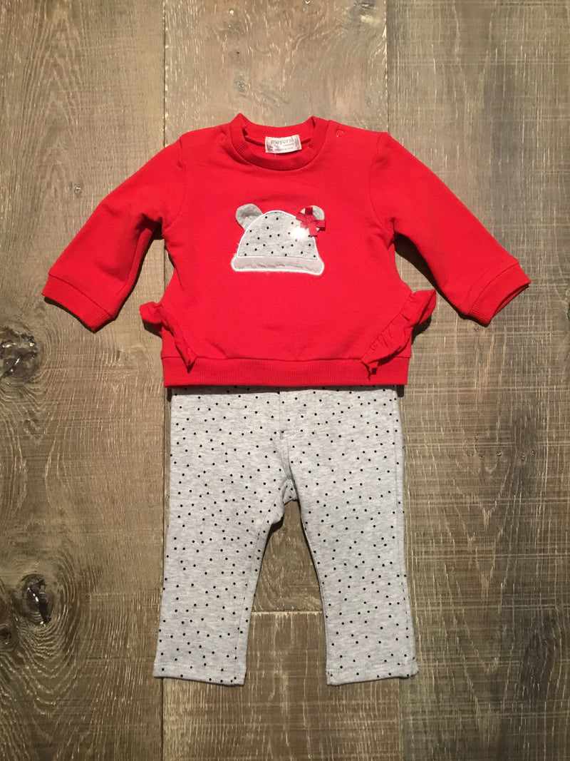 Red Ruffle Pullover & Grey Dotted Jeggings