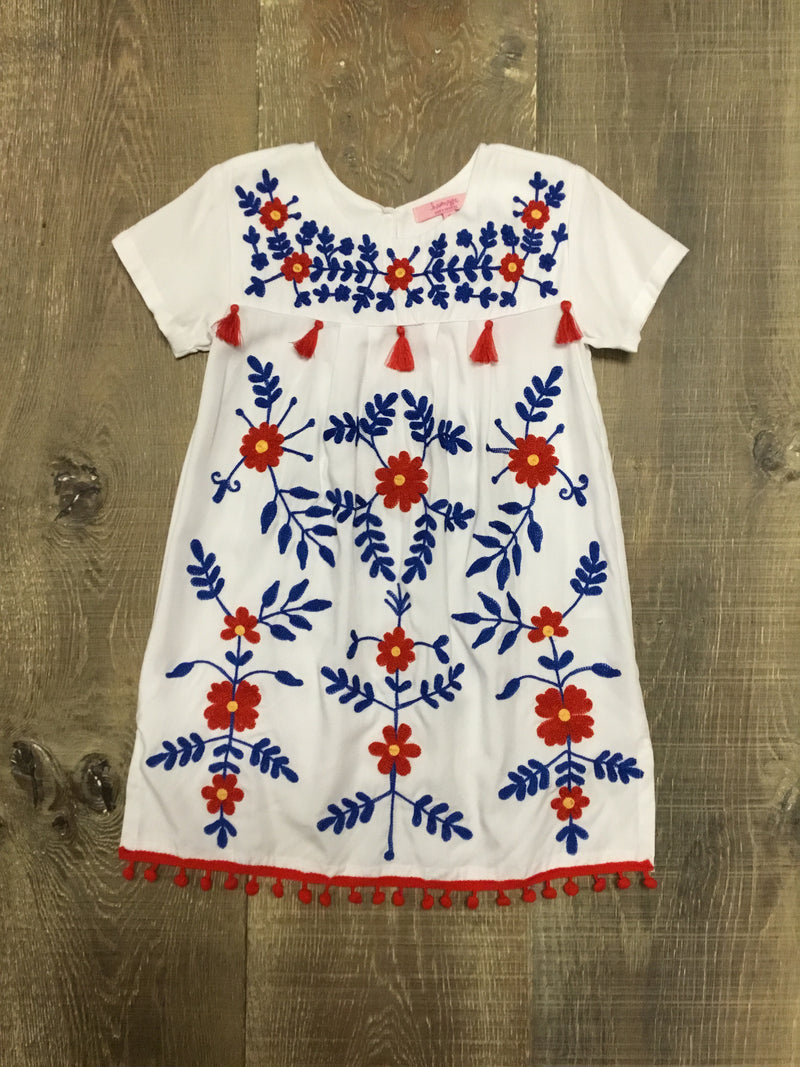 Red & Blue on White Layla Tank Dress