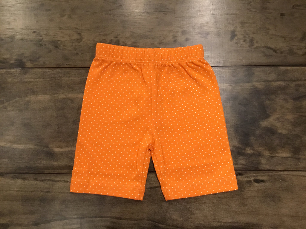 Orange & White Dotted Bicycle Shorts by Luigi Kids