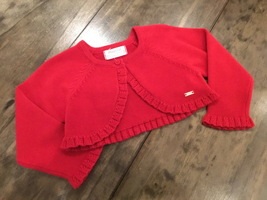 Cherry Red Knit Short Cardigan