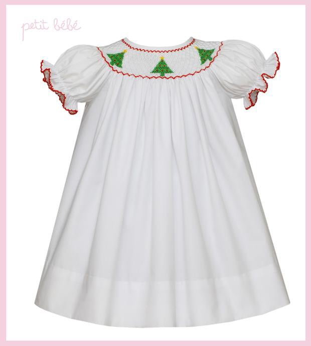White with Christmas Trees Smocked Bishop Dress