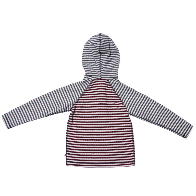 Grey & Maroon Stripe Hooded Henley