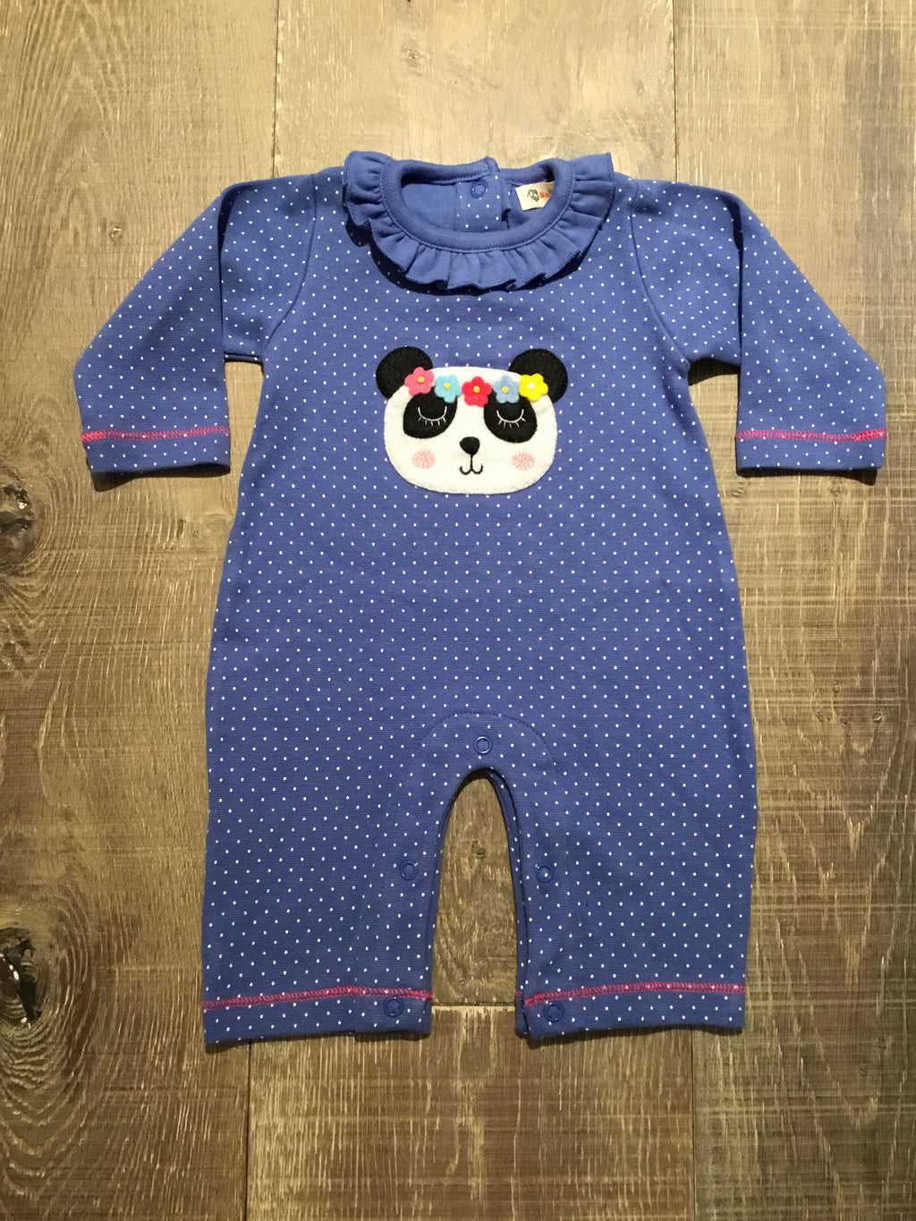 Panda on Dotted Chambray Coverall