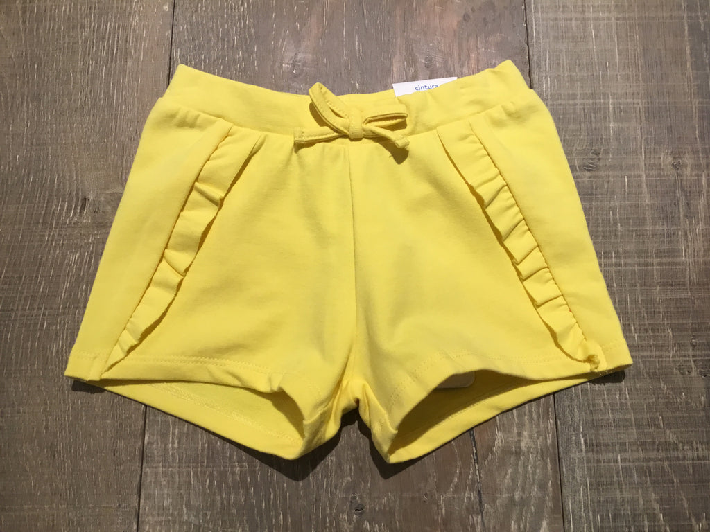 Solid Yellow Knit Ruffle Shorts