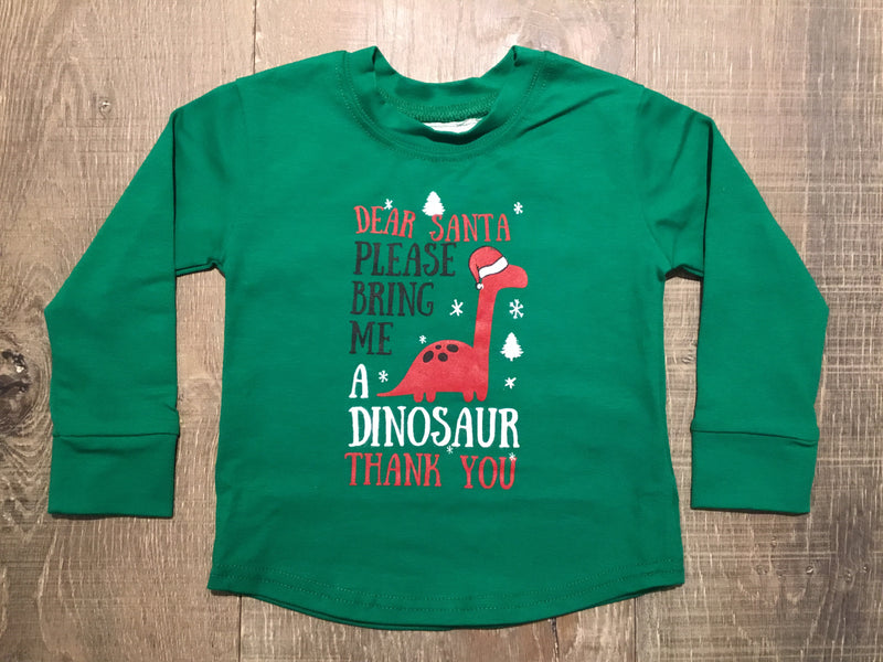 Dear Santa Dinosaur Long Sleeve Shirt