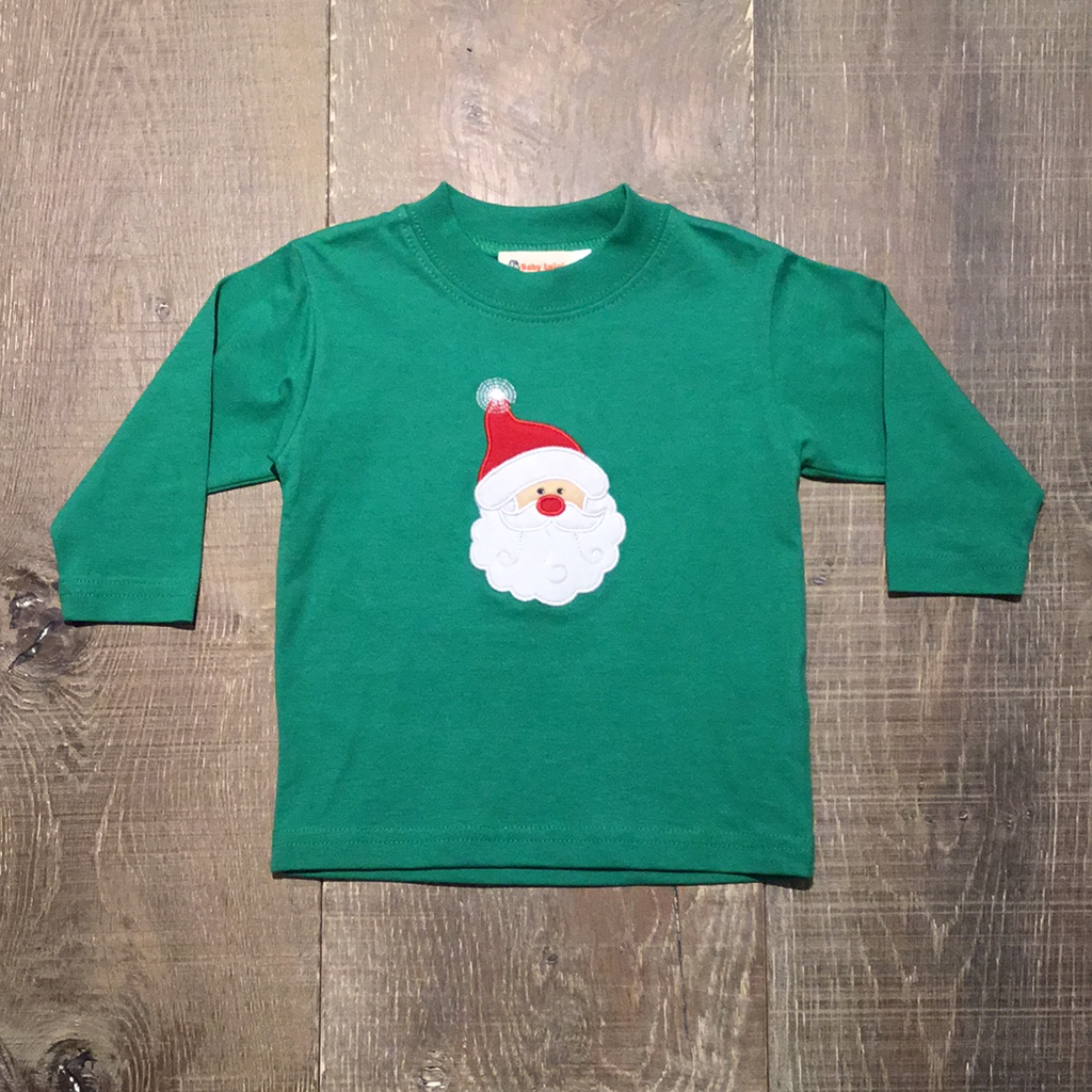 Santa Face Applique on Green L.S. Tee